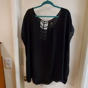 Torrid size 5 black sheer tunic top